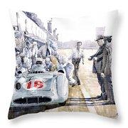 1955 Mercedes Benz W 196 Str Stirling Moss Italian Gp Monza Throw Pillow by Yuriy  Shevchuk
