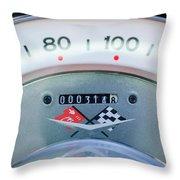 1960 Chevrolet Corvette Speedometer Throw Pillow by Jill Reger
