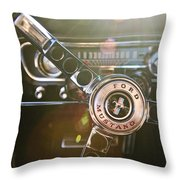 1965 Shelby prototype Ford Mustang Steering Wheel Emblem Throw Pillow by Jill Reger