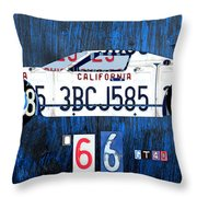 1966 Ford Gt40 License Plate Art By Design Turnpike Throw Pillow by Design Turnpike