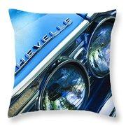 1967 Chevrolet Chevelle Malibu Head Light Emblem Throw Pillow by Jill Reger