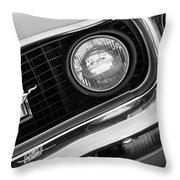 1969 Ford Mustang Boss 429 Grill Emblem Throw Pillow by Jill Reger