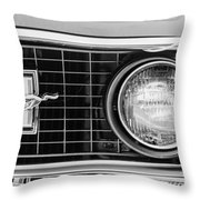 1969 Ford Mustang Mach 1 Grille Emblem Throw Pillow by Jill Reger
