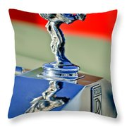 1976 Rolls Royce Silver Shadow Hood Ornament Throw Pillow by Jill Reger