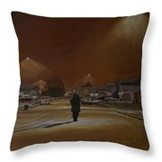 1997-my First Snowy Winter Throw Pillow by Thu Nguyen