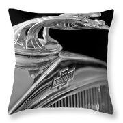 1931 Chevrolet Hood Ornament Throw Pillow by Jill Reger