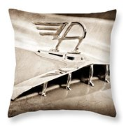1957 Austin Cambrian 4 Door Saloon Hood Ornament Throw Pillow by Jill Reger