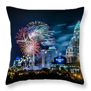 4th Of July Firework Over Charlotte Skyline Throw Pillow by Alexandr Grichenko