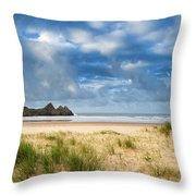 Beautiful Blue Sky Morning Landscape Over Sandy Three Cliffs Bay Throw Pillow by Matthew Gibson