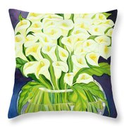 Calla Lilies Throw Pillow by Laila Shawa