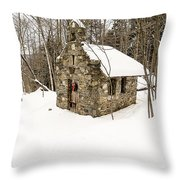 Chapel In The Woods Stowe Vermont Throw Pillow by Edward Fielding