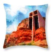 Chapel Of The Holy Cross Sedona Arizona Red Rocks Throw Pillow by Amy Cicconi