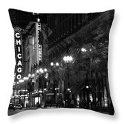 Chicago Theatre At Night Throw Pillow by Christine Till