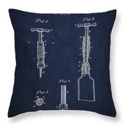 Corkscrew Patent Drawing From 1884 Throw Pillow by Aged Pixel