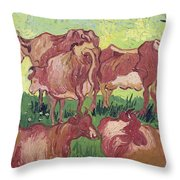 Cows Throw Pillow by Vincent Van Gogh