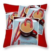 Cup of Christmas Cheer - Candy Cane - Candy - Irish Cream Liquor Throw Pillow by Barbara Griffin