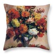 Dahlias Throw Pillow by Pierre-Auguste Renoir