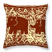 Elephant and calf lino print brown Throw Pillow by Julie Nicholls
