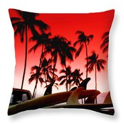 Fins N' Palms Throw Pillow by Sean Davey