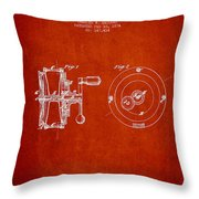 Fishing Reel Patent from 1874 Throw Pillow by Aged Pixel