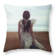 Girl With Suitcase Throw Pillow by Joana Kruse