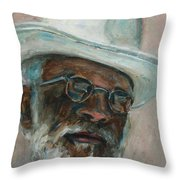 Gray Beard Under White Hat Throw Pillow by Xueling Zou