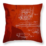 Henry Ford Engine Patent Drawing From 1928 Throw Pillow by Aged Pixel