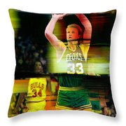 Larry Bird Throw Pillow by Marvin Blaine