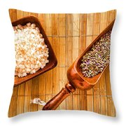 Lavender Seeds And Bath Salts Throw Pillow by Olivier Le Queinec