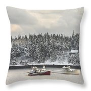 Lobster Boats After Snowstorm In Tenants Harbor Maine Throw Pillow by Keith Webber Jr