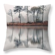 Loch Ard Reflections Throw Pillow by Grant Glendinning