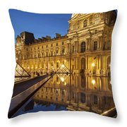 Louvre Reflections Throw Pillow by Brian Jannsen