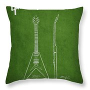 Mccarty Gibson Electric Guitar Patent Drawing From 1958 - Green Throw Pillow by Aged Pixel
