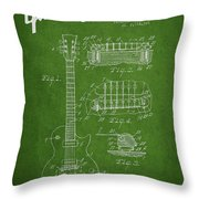 Mccarty Gibson Les Paul Guitar Patent Drawing From 1955 - Green Throw Pillow by Aged Pixel