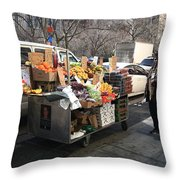 New York Street Vendor Throw Pillow by Frank Romeo