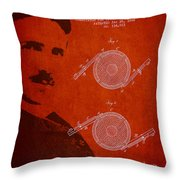 Nikola Tesla Patent From 1886 Throw Pillow by Aged Pixel