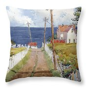 Pacific View And Blackberries Too Throw Pillow by Joyce Hicks