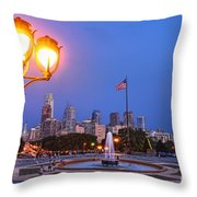 Philadelphia At Dusk Throw Pillow by Olivier Le Queinec