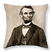 Portrait Of Abraham Lincoln Throw Pillow by Mathew Brady