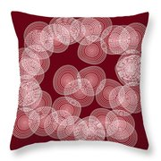 Red Abstract Circles Throw Pillow by Frank Tschakert