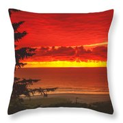 Red Pacific Throw Pillow by Robert Bales