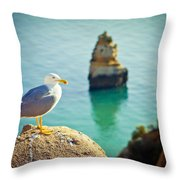 Seagull On The Rock Throw Pillow by Raimond Klavins