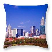 Skyline Of Uptown Charlotte North Carolina At Night Throw Pillow by Alexandr Grichenko