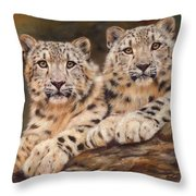 Snow Leopards Throw Pillow by David Stribbling