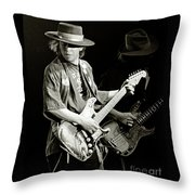 Stevie Ray Vaughan 1984 Throw Pillow by Chuck Spang