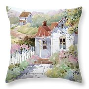Summer Time Cottage Throw Pillow by Joyce Hicks