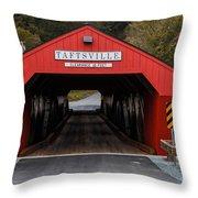 Taftsville Covered Bridge Vermont Throw Pillow by Edward Fielding
