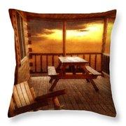 The Cabin Throw Pillow by Joann Vitali