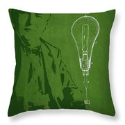 Thomas Edison Incandescent Lamp Patent Drawing From 1890 Throw Pillow by Aged Pixel