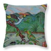 Tropical Dialogue Throw Pillow by John Powell